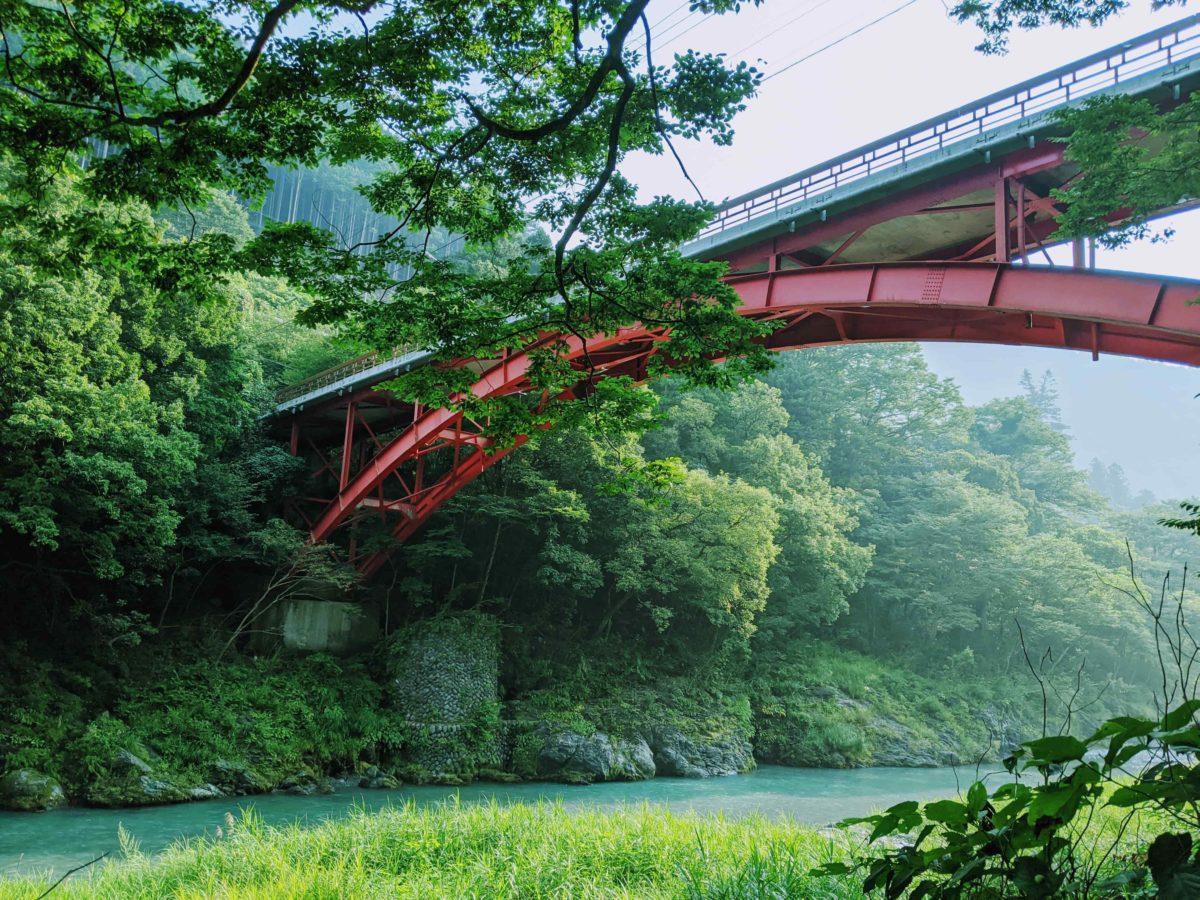 夏の多摩川と橋
